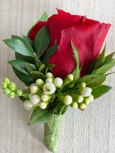 Full size red Rose Boutonniere