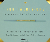 Fun Twenty-One Bracelet Lucky Feather Birthday Collection