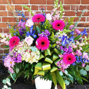 Vibrant Funeral Basket  in Northport, NY | Hengstenberg's Florist
