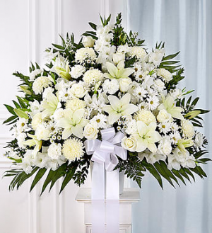 Funeral Basket All White Arrangement in Winston Salem, NC | RAE'S NORTH POINT FLORIST INC.