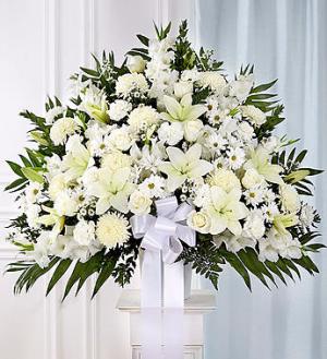 Funeral Basket All White Arrangement in Lexington, NC | RAE'S NORTH POINT FLORIST INC.