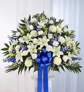 Funeral Basket Blue and White Arrangement