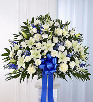 Funeral Basket Blue and White Arrangement in Winston Salem, NC | RAE'S NORTH POINT FLORIST INC.