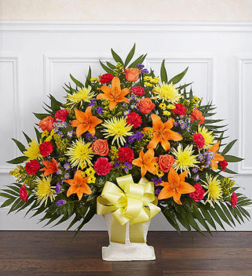 FUNERAL BASKET BRIGHT MIX