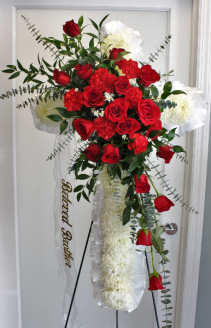 FUNERAL CROSS WITH ROSES & CARNATIONS