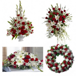 Funeral flowers Package Red and White  in Sunrise, FL | FLORIST24HRS.COM