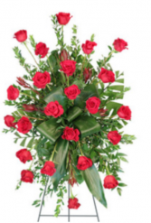 Funeral  Red roses spray