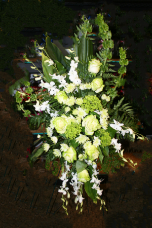 FUNERAL SPRAY WITH GREEN ROSES Funeral, Cremation or Memorial