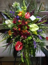 Funeral spray with  tropical flowers Funeral Stand, Sympathy