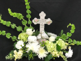 Funeral Table  Table with Keepsake Cross