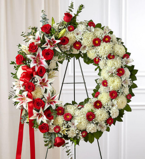 Funeral Wreath Red and White  Red Rose and Lily Standing Spray in Sunrise, FL | FLORIST24HRS.COM