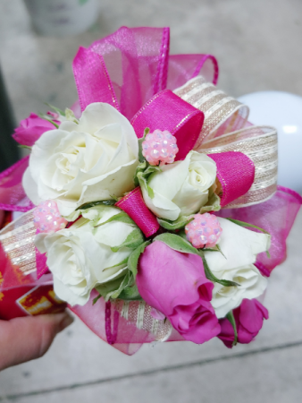 fuschia and white corsage