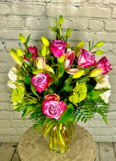 Fuschia & Chartreuse Vase Arrangement
