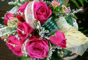 Fuscia Roses with Gold accents Wrist Corsage