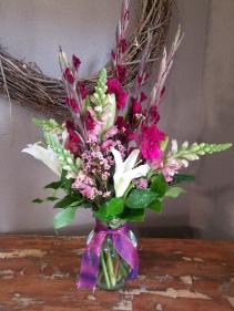 Fusica glads Vase arrangement