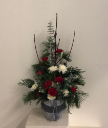 Fuzzy Tin Christmas arrangement