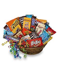 JUNK FOOD BASKET Gift Basket in Kingston, TN | ROSEMARY'S FLORIST N CUPCAKE HAVEN