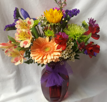"""Garden Delight"" Colorful flowers arranged in  mixed colors in a vase. (may be clear or a different color vase)"