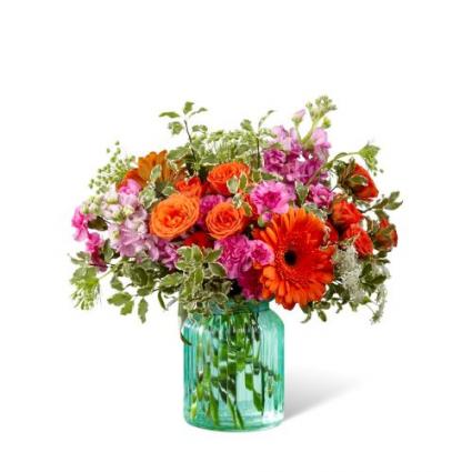 G13D Aqua Escape Bouquet Vase Arrangement