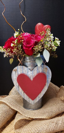 Galvanized Bouquet of Love Dozen Roses in a Galvanized Pail with a Tin Heart