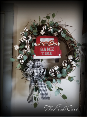 "Game Day Wreath Faux Silver Dollar Eucalyptus Wreath 24"" in Helena, AL | The Petal Cart"