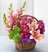 Garden Basket Basket Mix Flowers