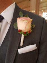 garden blush rose boutonniere  groom boutonniere