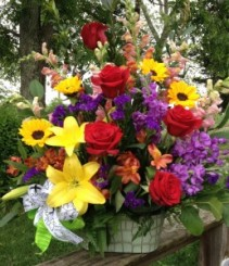 Whimsical Garden Bounty arrangement