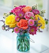 Garden Bouquet in Mason Jar Fresh Arrangement
