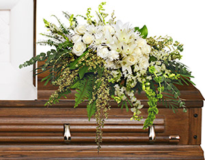 GARDEN ELEGANCE CASKET SPRAY Funeral Flowers in Huxley, IA | CHICKEN SHED PRIMITIVES