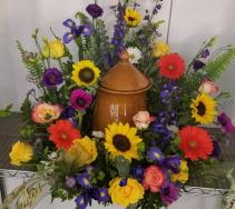 Garden Floral Urn Sympathy Urn Arrangement