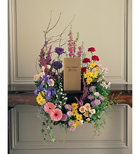 Garden Flower Wreath Memorial Urn Surround in Allen, TX | RIDGEVIEW FLORIST