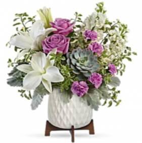 Garden Oasis Bouquet Fresh flowers in keepsake ceramic