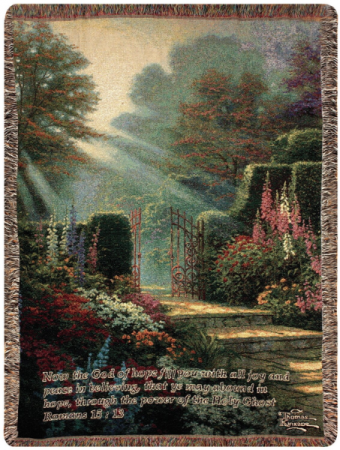 "Garden of Grace w/Verse Manual 50x60"" Tapestry Throw"