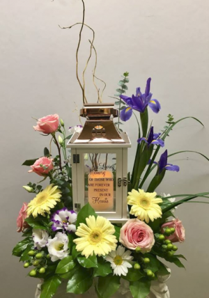 Garden of Memories Lantern Funeral Arrangement in Michigan City, IN | WRIGHT'S FLOWERS AND GIFTS INC.