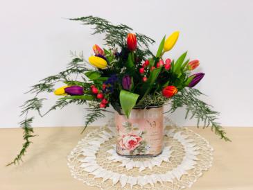 Garden of Tulips  With Keepsake Garden Tin