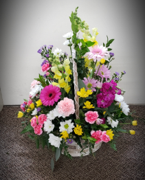 Garden Pop Up Party Basket  Fresh Floral Arrangement