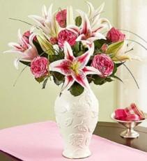 Garden Rose and Lily Bouquet in Lenox® Fresh Arrangement