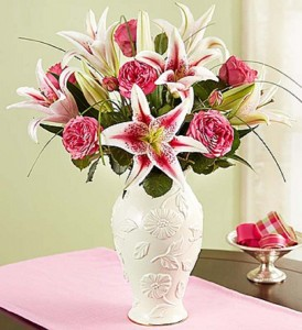 Garden Rose and Lily Bouquet in Lenox® Fresh Arrangement