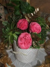 Garden Rose Centerpiece Wedding Flowers