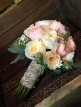 Garden Rose Elegance Handtied Style Bridal Bouquet