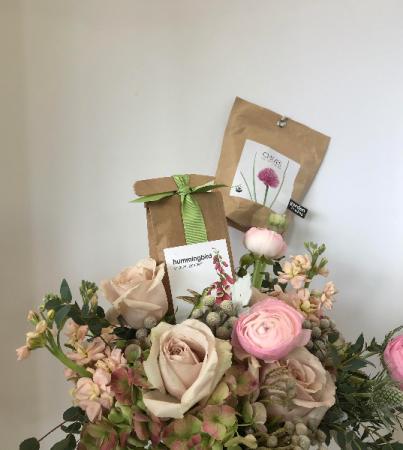 Garden Rose & Scatter Garden Seeds Vase Arrangement