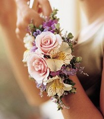 Designers Choice Garden Style Wrist Corsage with pastel flowers