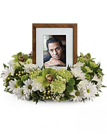 Garden Wreath Photo Tribute Bouquet Wreath