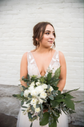 Gardeny Greens and White Hand-Tied Bridal Bouquet