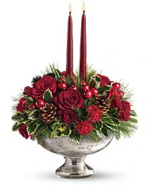 Geno's Mercury Glass Bowl Bouquet All-Around
