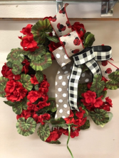 Geranium Lady Bug wreath