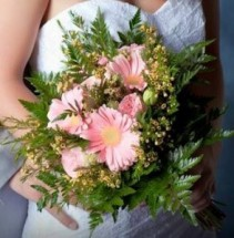 Pink Garden Rose and Gerber Daisy  Bridal Bqt