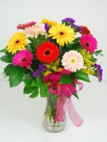Gerber Daisy Vase Vase Arrangement by Rose Bowl Florists