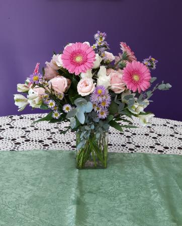 Gerber greetings vase arrangement